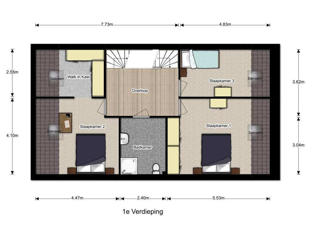 1ste verdieping Doorenbosch woonboerderij Gemert